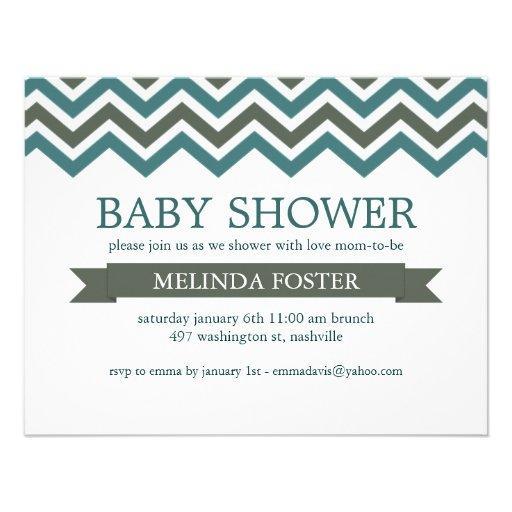 green blue chevron baby shower invitation zazzle