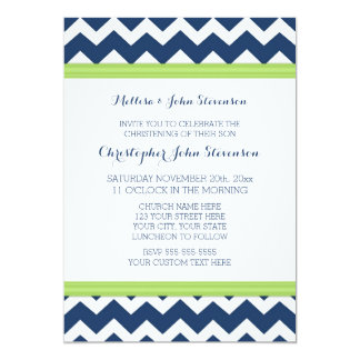 Green Blue Chevron Christening Invitation