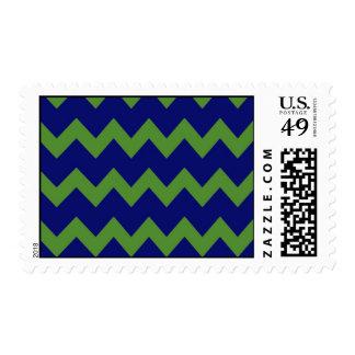 Green Blue Chevrons Postage