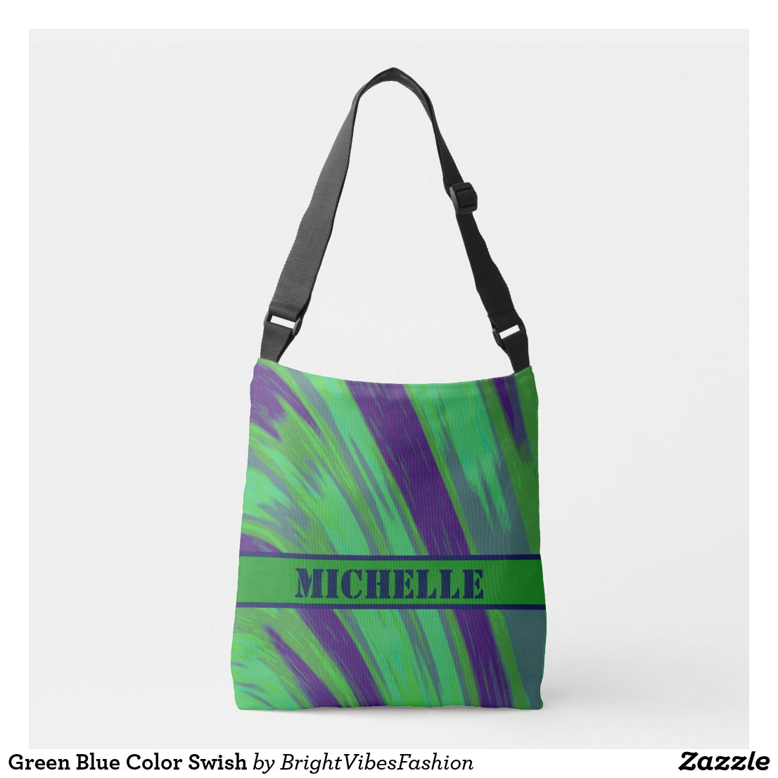 Green Blue Color Swish Crossbody Bag