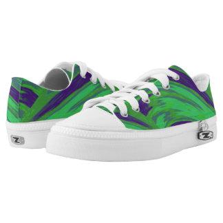 Green Blue Color Swish Low-Top Sneakers