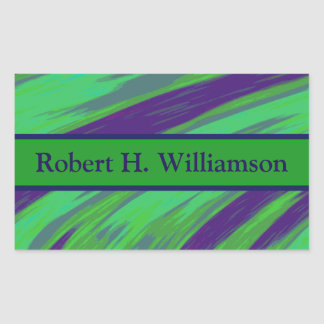Green Blue Color Swish Rectangular Sticker