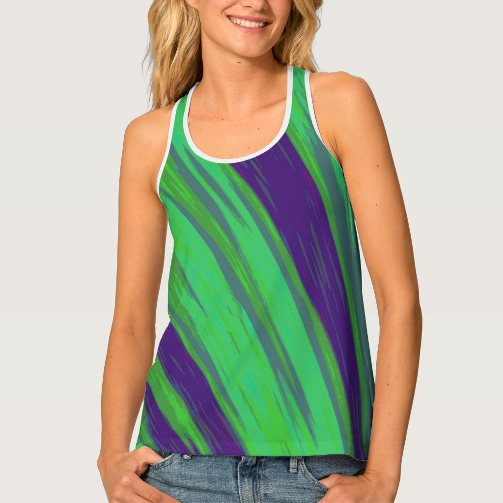 Green Blue Color Swish Tank Top