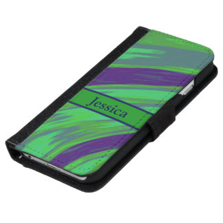 Green Blue Color Swish Wallet Phone Case For iPhone 6/6s