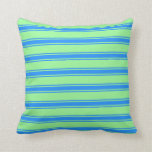[ Thumbnail: Green & Blue Colored Striped/Lined Pattern Pillow ]