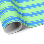 [ Thumbnail: Green & Blue Colored Striped/Lined Pattern Wrapping Paper ]