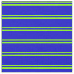 [ Thumbnail: Green & Blue Colored Striped Pattern Fabric ]