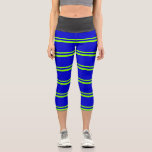 [ Thumbnail: Green & Blue Colored Striped Pattern Leggings ]