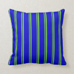 [ Thumbnail: Green & Blue Colored Striped Pattern Throw Pillow ]