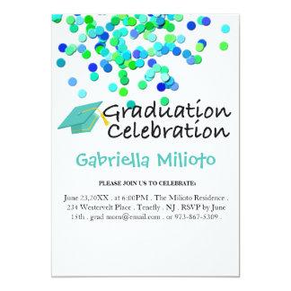 Green & Blue Confetti & Cap Graduation Invitation