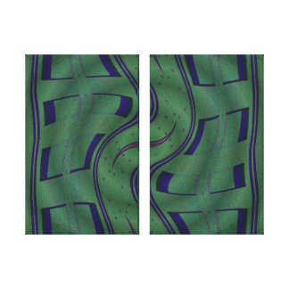 green blue curved squares abstract canvas print
