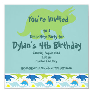 Green & Blue Dinosaur Birthday Party Invitations