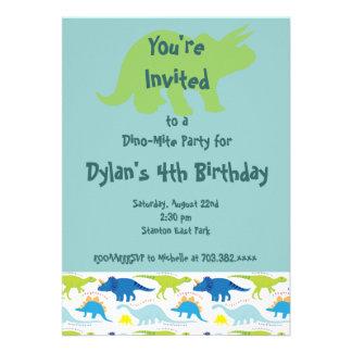 Green Blue Dinosaur Birthday Party Invitations