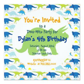 Green & Blue Dinosaurs Birthday Party Invitations