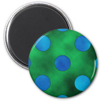 Green & Blue Dots 2 Inch Round Magnet