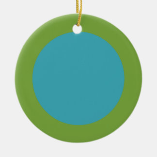 Green & Blue Double-Sided Ceramic Holiday Ornament