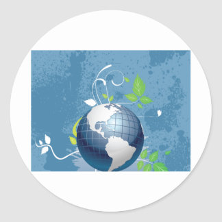Green Blue Earth ~ Conserve Recycle Sustainable Round Stickers