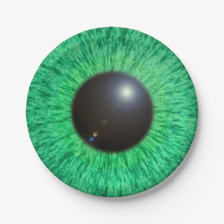 Green Blue Eye With Flare Paper Plate