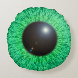Green Blue Eye With Flare Round Pillow