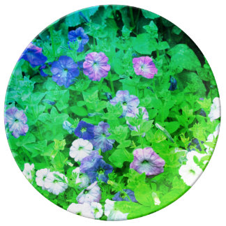 Green Blue Floral Art Flowers Garden Pictures Cool Porcelain Plate