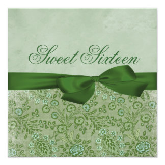 Green & Blue Floral Bow Birthday Invitation