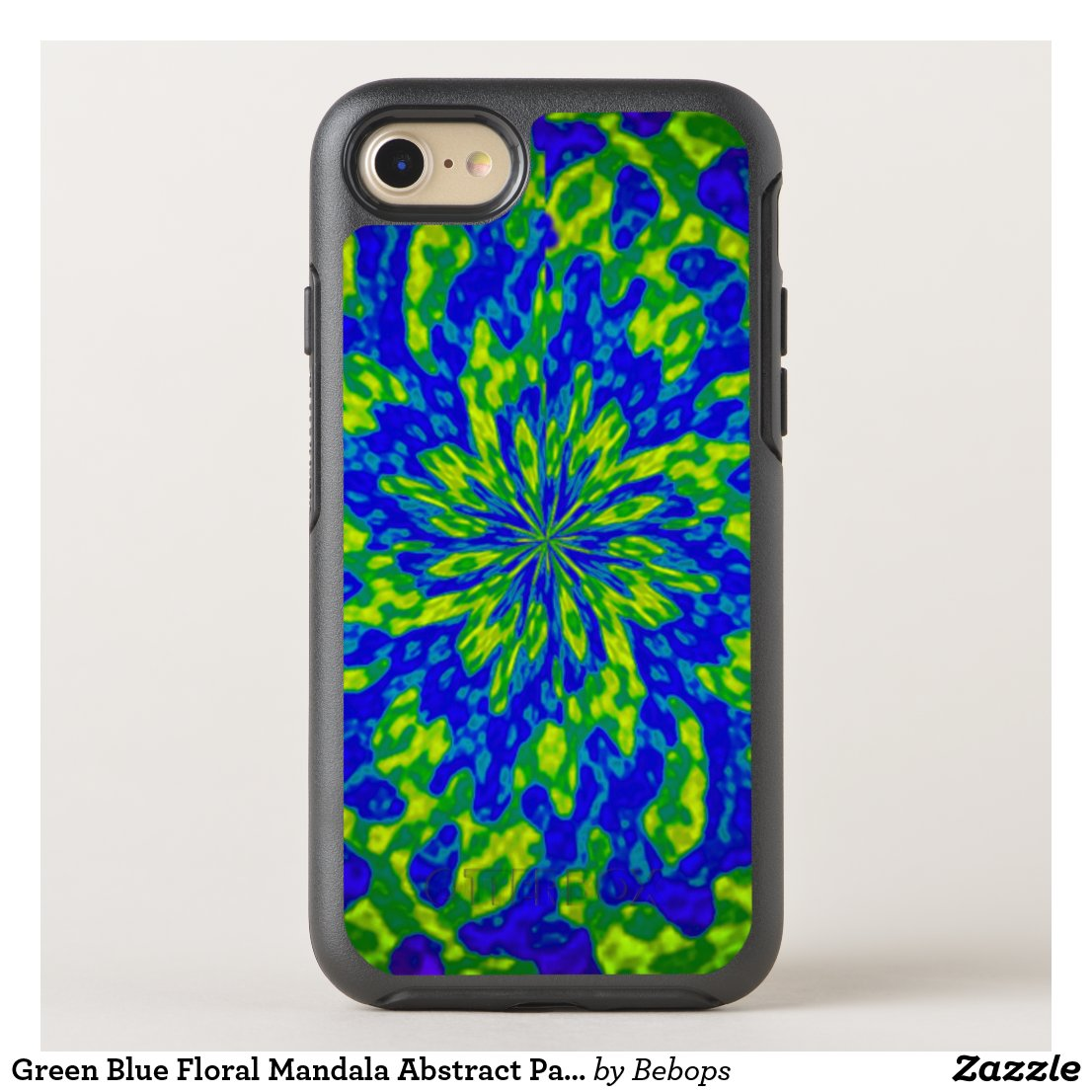 Green Blue Floral Mandala Abstract Pattern OtterBox Symmetry iPhone 7 Case
