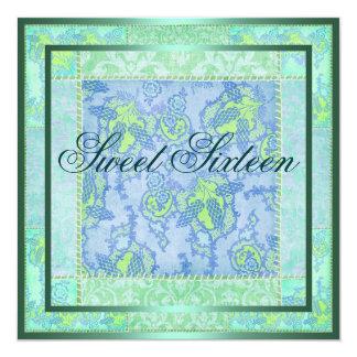 Green & Blue Floral Patch Work Birthday Invitation