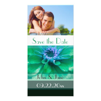 """Green & Blue Floral  /photo  """"Save the Date"""" Photo Card"""