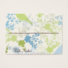 Green & Blue Floral Wedding Table Number Cards at Zazzle