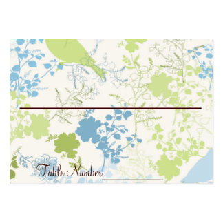 Green & Blue Floral Wedding Table Number Cards Large Business Cards (Pack Of 100)