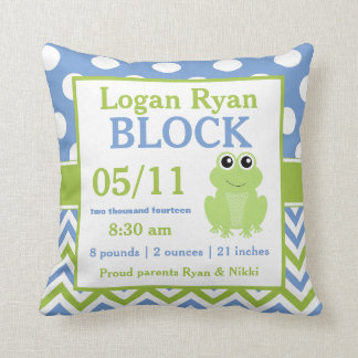 Green Blue Frog Baby Announcement Pillow