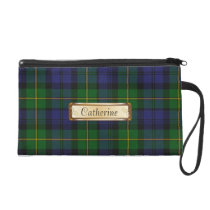 Green & Blue Gordon Family Tartan Plaid Wristlet Purse