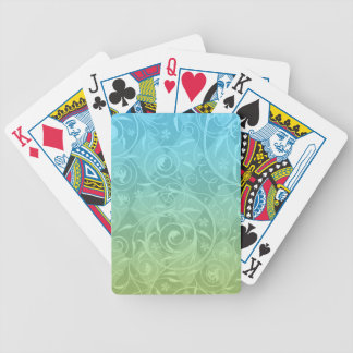Green Blue Gradient Venetian Medley Damask Bicycle Playing Cards