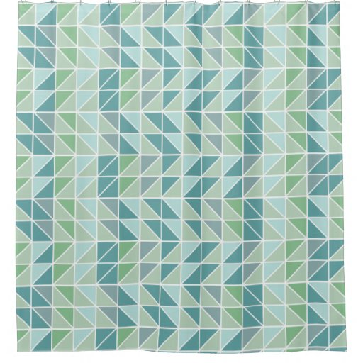 Green Blue Gray Abstract Triangle Shower Curtain Zazzle