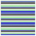 [ Thumbnail: Green, Blue, Grey, Black & Light Yellow Pattern Fabric ]