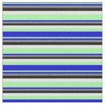 [ Thumbnail: Green, Blue, Grey, Black & Light Yellow Pattern Fabric ]