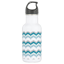 Green & Blue Hues Chevron Pattern Stainless Steel Water Bottle