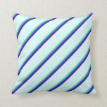 [ Thumbnail: Green, Blue, Indigo & Light Cyan Pattern Pillow ]