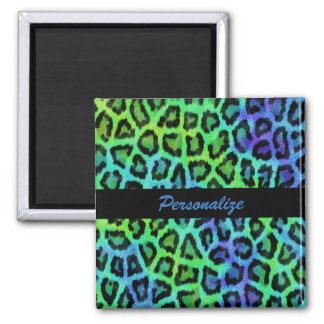 """Green & Blue Leopard Print"" 2 Inch Square Magnet"