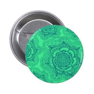 Green Blue Mandala Pattern Button