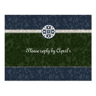 Green & Blue Medieval Brocade rsvp Postcard