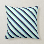 [ Thumbnail: Green, Blue, Midnight Blue, Black, and Light Cyan Throw Pillow ]