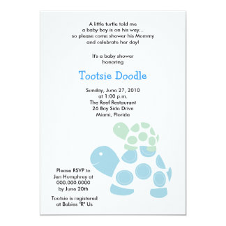 Green & Blue Mod Turtle 5x7 Baby Shower Card
