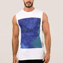 Green blue modern abstract art sleeveless shirt
