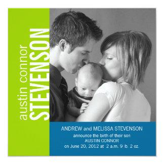 Green Blue Modern Baby Boy Birth Announcement