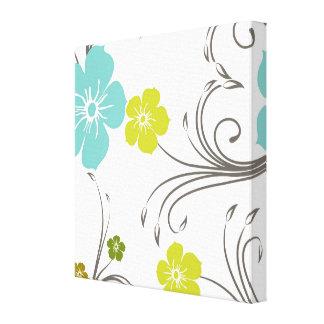 Green & Blue Modern Flower Design Stretched Canvas Print