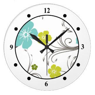 Green & Blue Modern Flower Design Large Clock