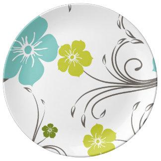 Green & Blue Modern Flower Design Porcelain Plate
