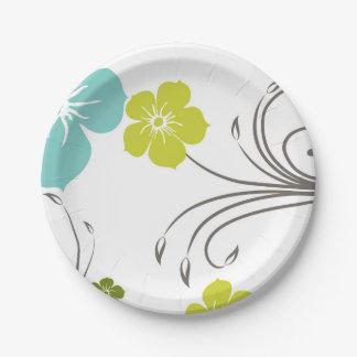 Green & Blue Modern Flower Design 7 Inch Paper Plate