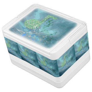 Green&Blue Music Notes Abstract Igloo 12Can Cooler